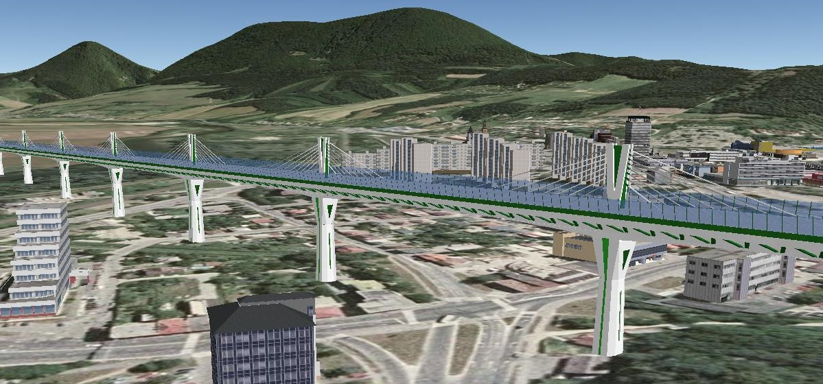 3D display elevated highway in Povazska Bystrica
